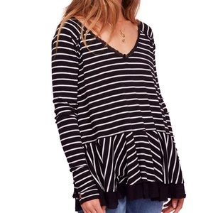 FREE PEOPLE We the Free Tangerine Stripe Tee Black